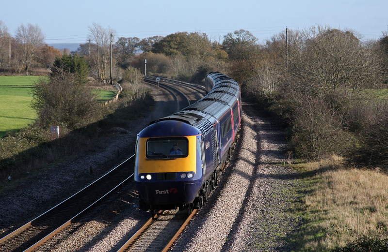 HST, 09.06 London Paddington-Plymouth, Creech St Michael, near Taunton, 25-11-09.