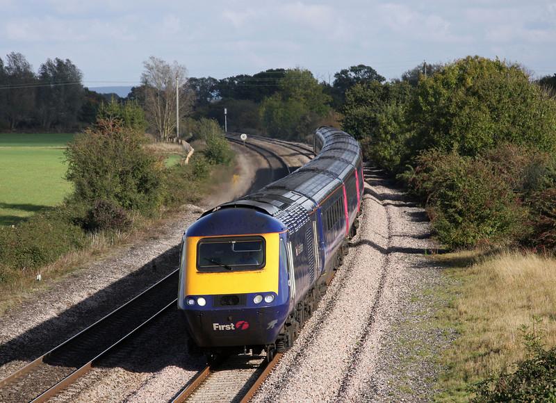 HST, 12.18 London Paddington-Taunton, Creech St Michael, near Taunton, 21-10-09.
