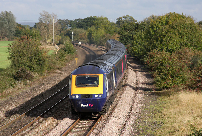 HST, 14.06 London Paddington-Penzance, Creech St Michael, near Taunton, 21-10-09.