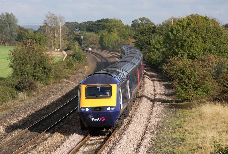 HST, 14.06 London Paddington-Penzance, Creech St Michael, near Taunton, 21-10-09.
