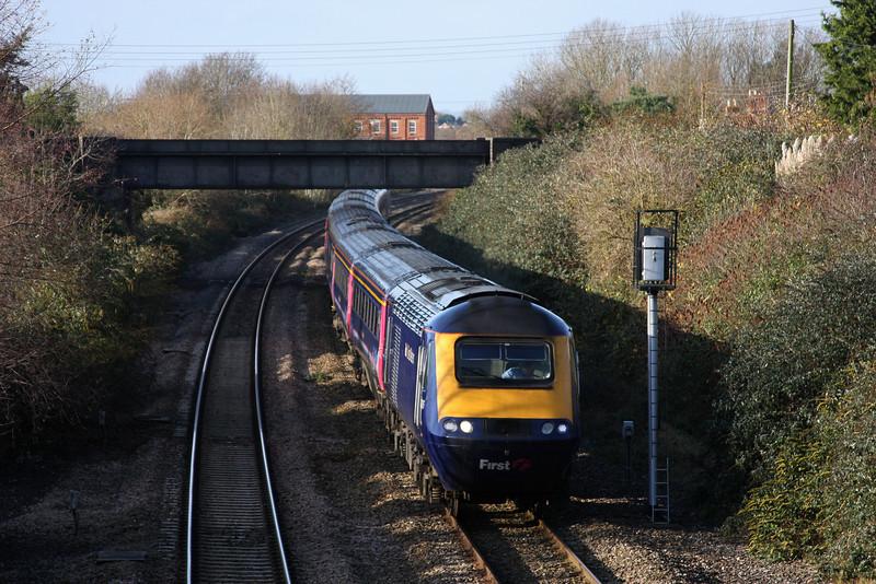 HST, 06.48 Penzance-London Paddington, Creech St Michael, near Taunton, 25-11-09.