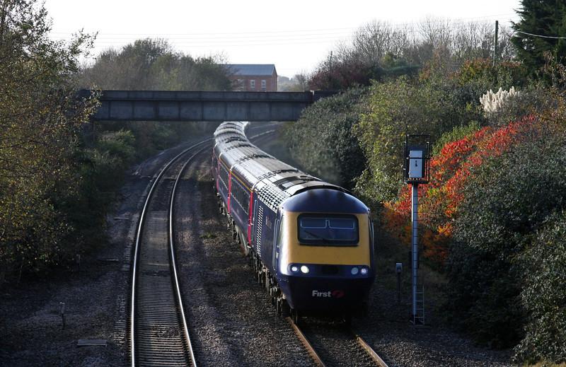 HST, 12.55 Plymouth-London Paddington, Creech St Michael, near Taunton, 3-11-09.