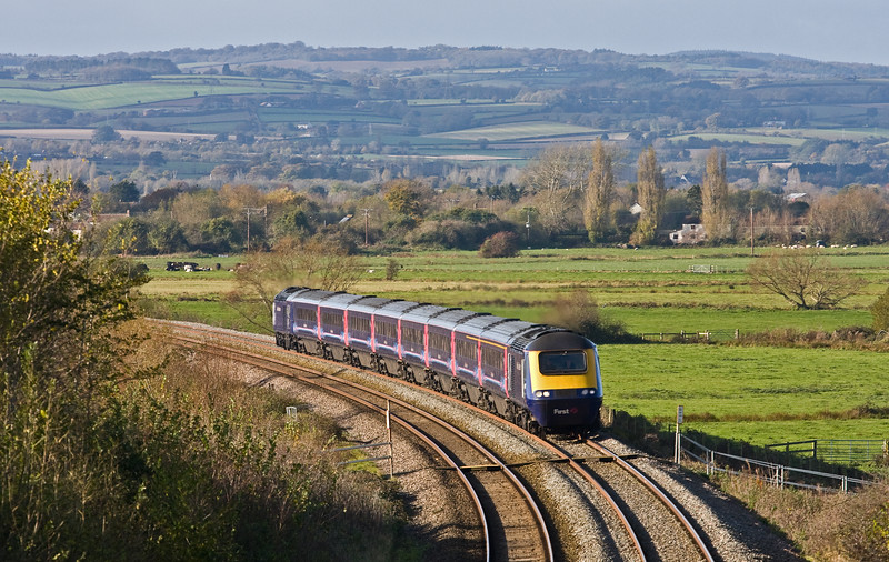 HST, 11.50 Newton Abbot-London Paddington,  Stoke St Gregory, near Taunton, 10-11-16. Service cancelled between Paignton and Newton Abbot, brakes problem.