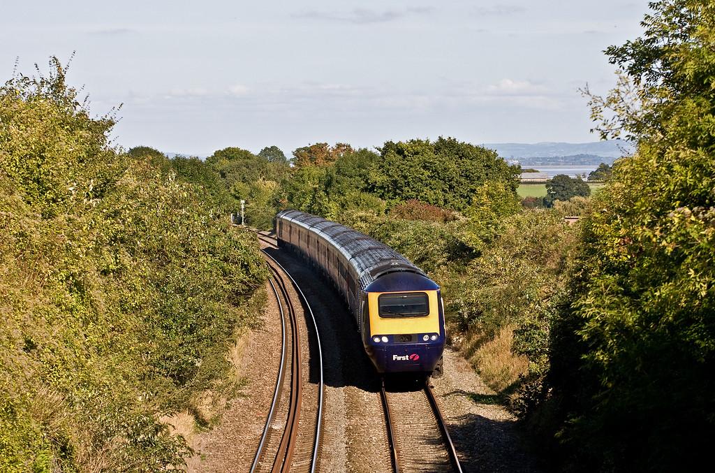 HST, 13.15 London Paddington-Swansea, Sedbury Lane, Chepstow, 3-10-16. Via Stroud and Gloucester because Severn Tunnel closed for electrification work.