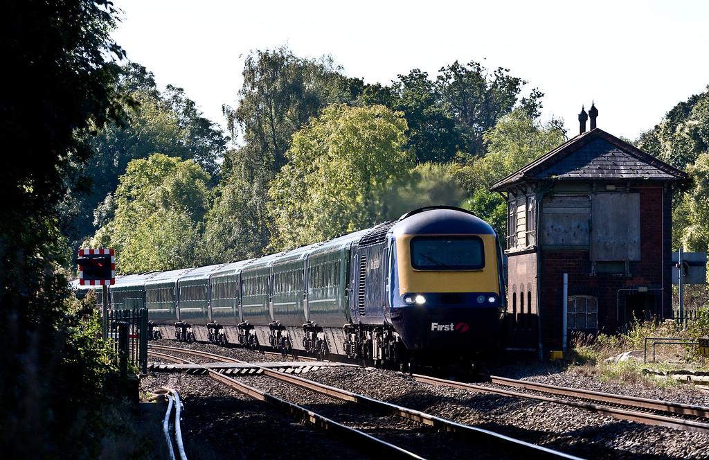 43133/43xxx, 10.28 Swansea-London Paddington, Awre, near Lydney, 3-10-16. Via Gloucester and Stroud because Severn Tunnel closed for electrification work.