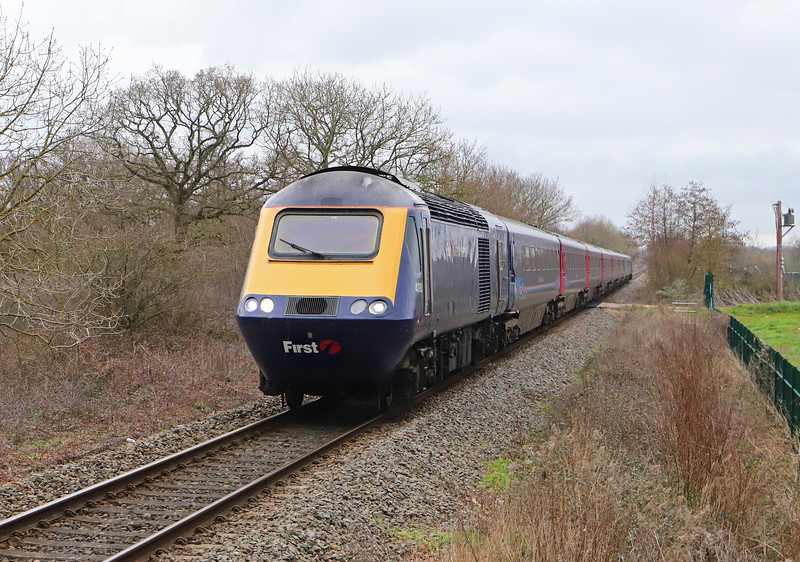 43180/43189, diverted 11.03 London Paddington-Plymouth, Cranbrook, near Exeter, 20-2-19. Whiteball Tunnel closed for three weeks from February 18.