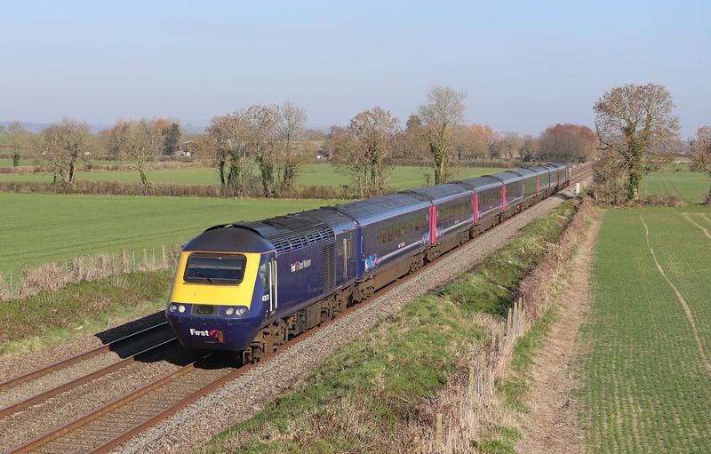 43070/43071, 13.03 London Paddington-Penzance, via Yeovil, Edington, near Westbury, 26-2-19.