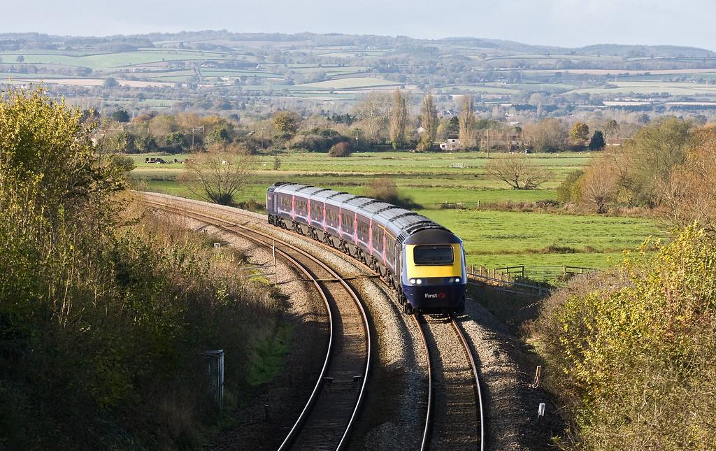 HST, 08.44 Penzance-London Paddington, Stoke St Gregory, near Taunton, 10-11-16. Departed Penzance 38 late.