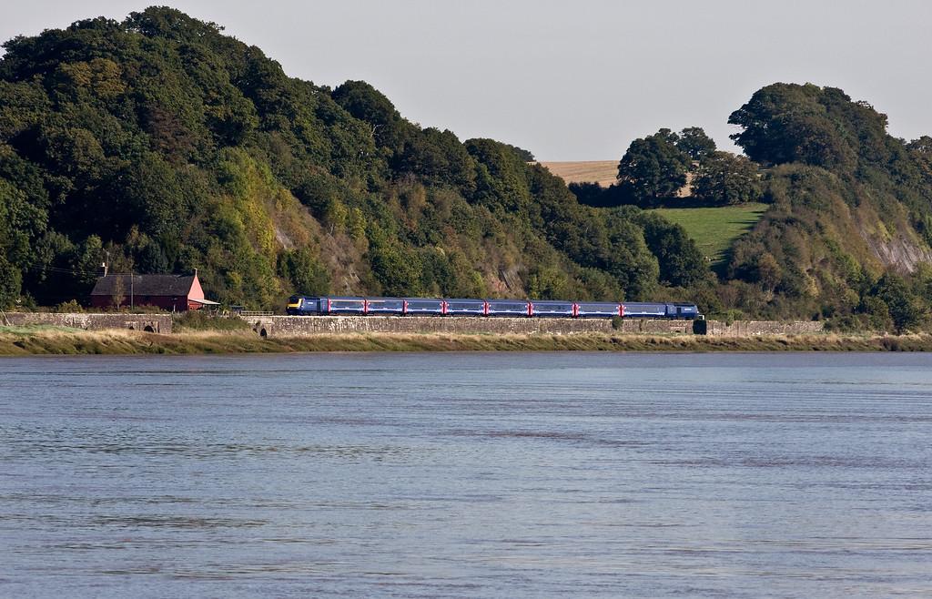 43093/43xxx, 09.15 London Paddington-Swansea, Gatcombe, near Lydney, 3-10-16. Via Stroud and Gloucester because Severn Tunnel closed for electrification work.