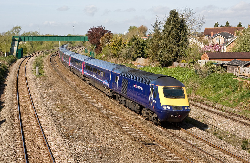 43138/43124, 09.55 Cardiff Central-London Paddington, Undy, near Severn Tunnel Junction, 4-5-16.