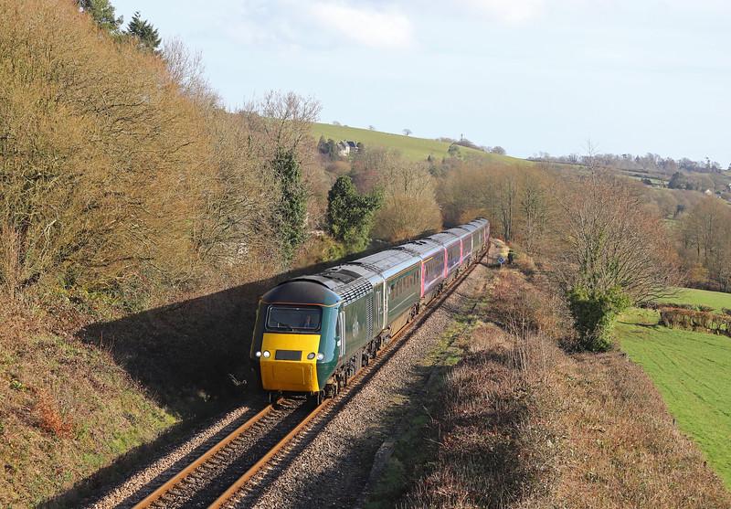 43153/43161, diverted 13.03 London Paddington-Penzance, Wilmington, near Honiton, 18-2-19. Whiteball Tunnel closed for three weeks from February 18.