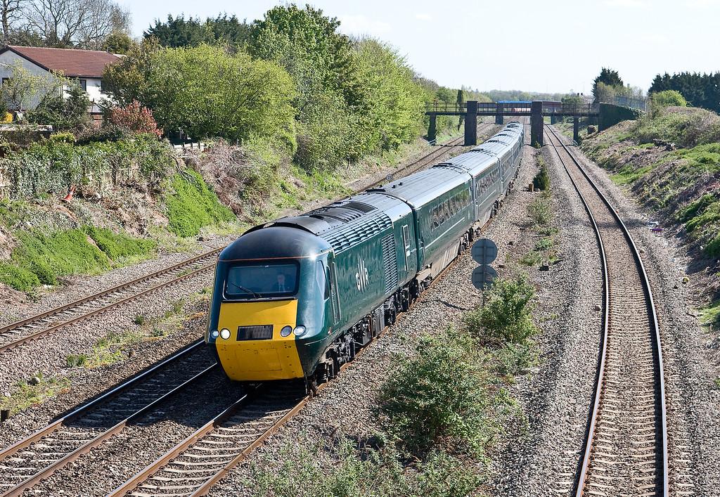 43188/43187, 08.45 London Paddington-Swansea, Undy, near Severn Tunnel Junction, 4-5-16.