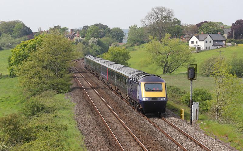 43091/ 43078, 09.43 Plymouth Laira T&RSMD-Long Marston, Rewe, near Exeter, 16-5-19. Redundant (unbranded) set on way to storage.