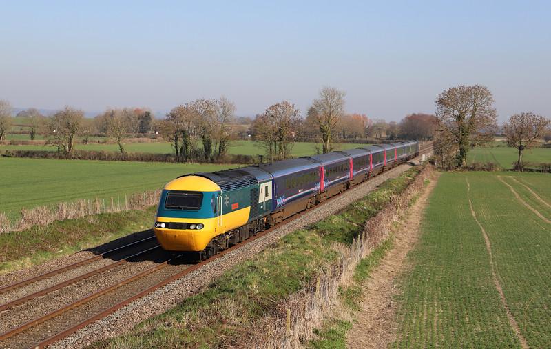 43002//43025, 12.03 London Paddington-Taunton, Edington, near Westbury, 26-2-19.