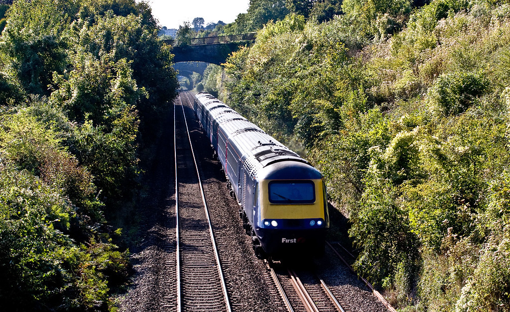 HST, 13.28 Swnasea-London Paddington, Sedbury Lane, Chepstow, 3-10-16. Via Gloucester and Stroud because Severn Tunnel closed for electrification work.