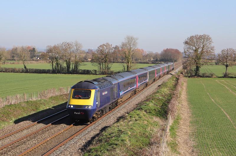 43160/43192, 11.03 London Paddington-Plymouth, via Yeovil, Edington, near Westbury, 26-2-19.