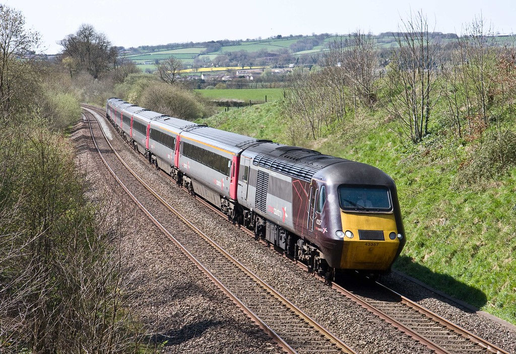 43357/43285, 12.25 Plymouth-Glasgow Central, Whiteball, 20-4-18. Late.