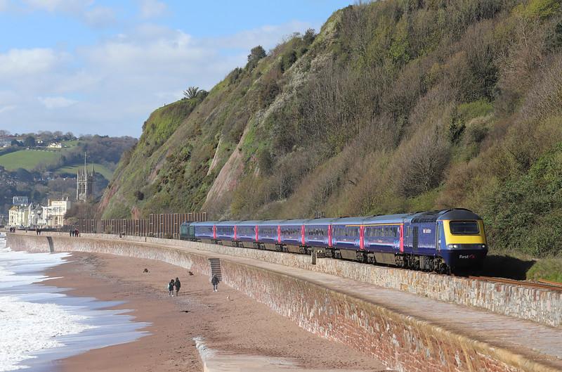 43160/43005, 07.41 Penzance-London Paddington, Sprey Point, Teignmouth, 11-4-19.