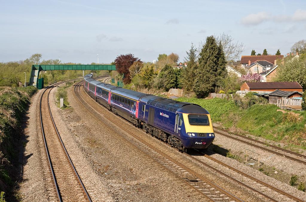 43137/43155, 07.30 Carmarthen-London Paddington, Undy, near Severn Tunnel Junction, 4-5-16.