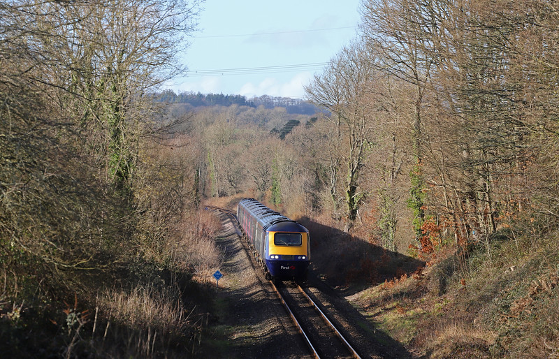 43078/43079, diverted 13.16 Plymouth-London Paddington, Wilmington, near Honiton, 18-2-19. Whiteball Tunnel closed for three weeks from February 18.