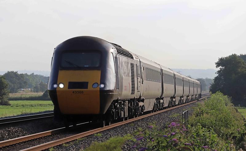 43366/43207, 16.53 Totnes-Leeds, Pugham Crossing, near Burlescombe, 3-9-21. Plymouth inaccessible; bridge damaged in lorry strike.
