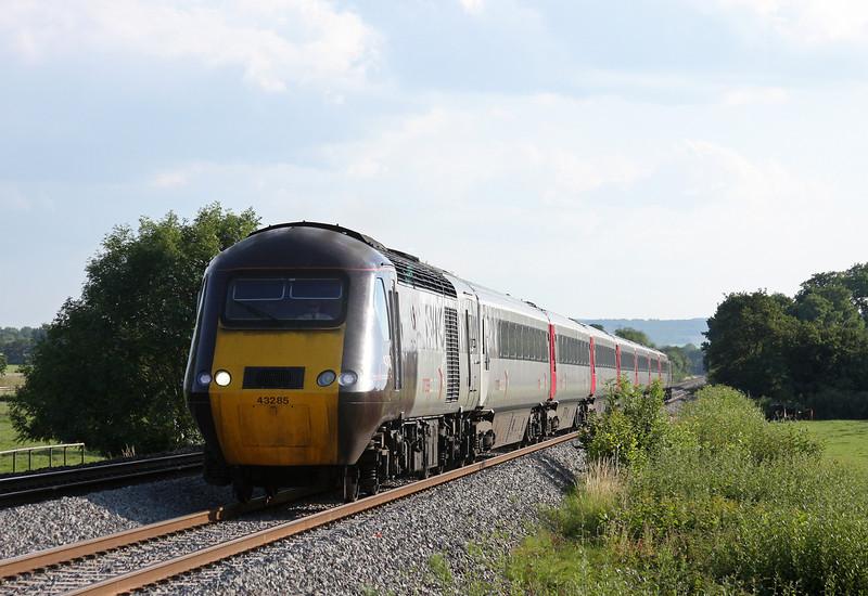 43285/43378, 15.30 Penzance-Leeds, Pugham Crossing, near Burlescombe,  13-7-11.