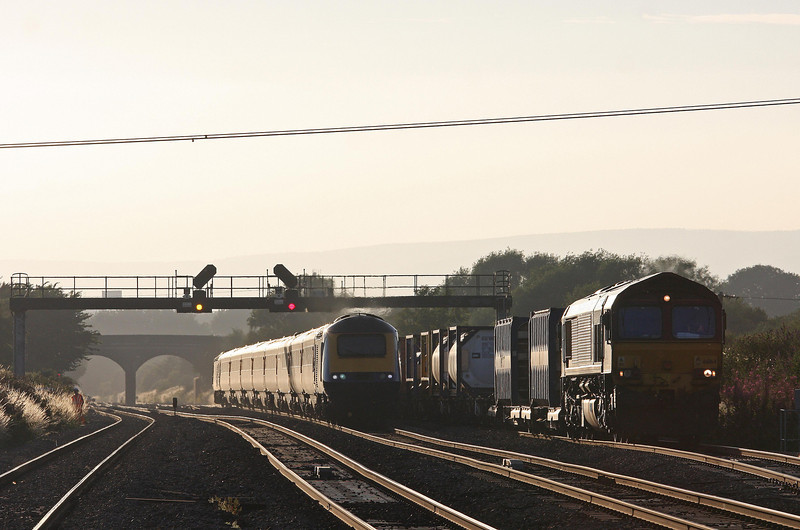 HST, 18.28 Swansea-London Paddington, Pilning, 1-8-13, overtaking 66164, 17.56 Cardiff Wentloog (Freightliners)- Didcot.