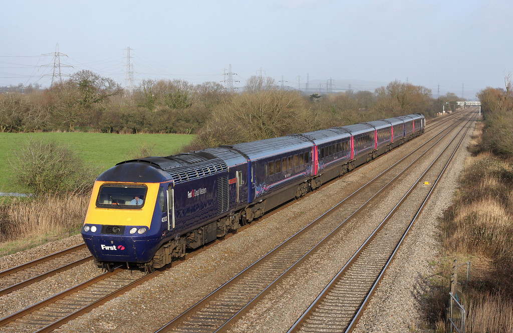 43132/43021, 13.15 London Paddington-Cardiff Central, Coedkernow, near Newport, 30-1-13.