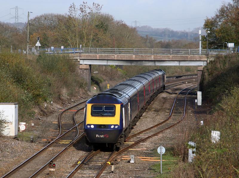 HST, 10.00 London Paddington-Paignton, Willand, nearTiverton, 19-11-10.