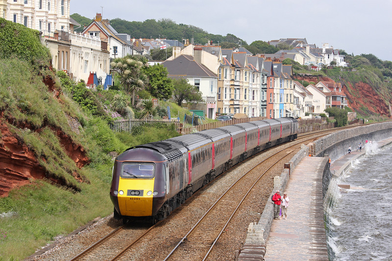 43285/43304, westbound, Dawlish, 13-6-12, wrong line working in operation.