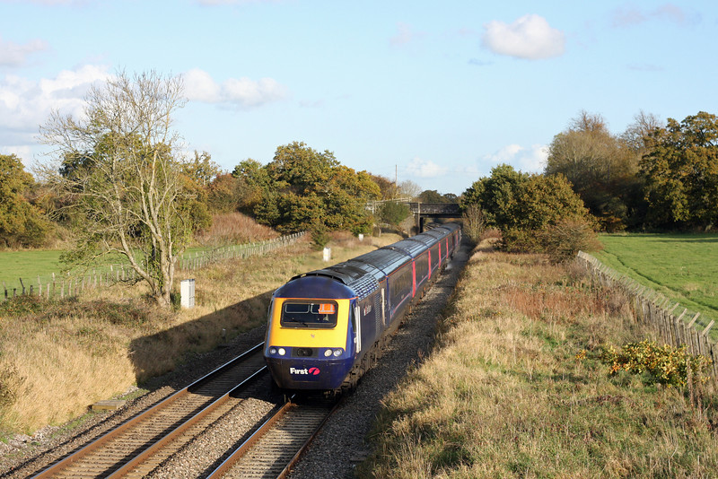 HST, 13.15 Paddington-Cardiff Central, Acton Turville, near Badminton, 1-11-11.
