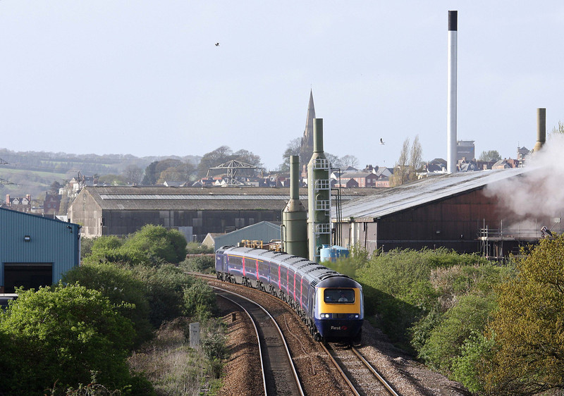 HST, 15.06 Paddington-Penzance, Marsh Barton, Exeter, 17-4-12.