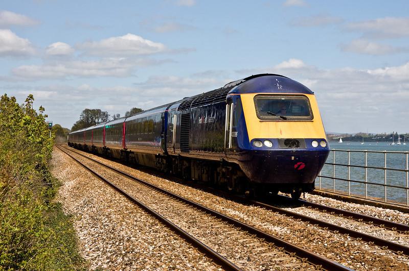 43086/43053, 10.03 London Paddington-Penzance, Powderham, near Exeter, 19-4-14.