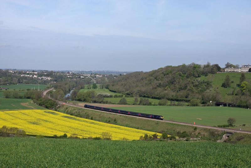 HST, 08.30 London Paddington-Bristol Temple Meads, Newton St Loe, near Bath, 27-4-10.