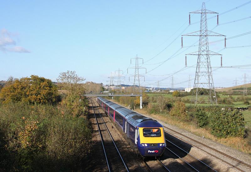HST, westbound, Duffryn, near Newport, 27-10-12.