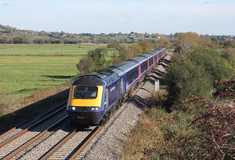 HST, 12.06 Paddington-Penzance, Wick, near Langport, 28-10-11 (late).