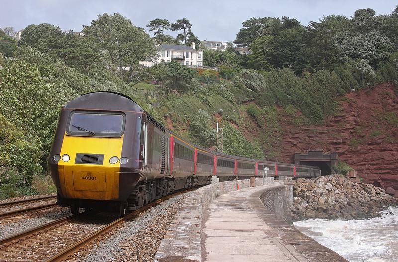 43301/43304, 06.06 Edinburgh Waverley-Plymouth, Holcombe, near Teignmouth, 15-8-12.