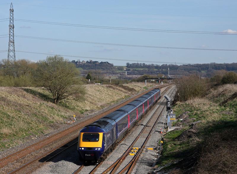 HST, 14.45 London Paddington-Swansea, Pilning, 8-4-10.