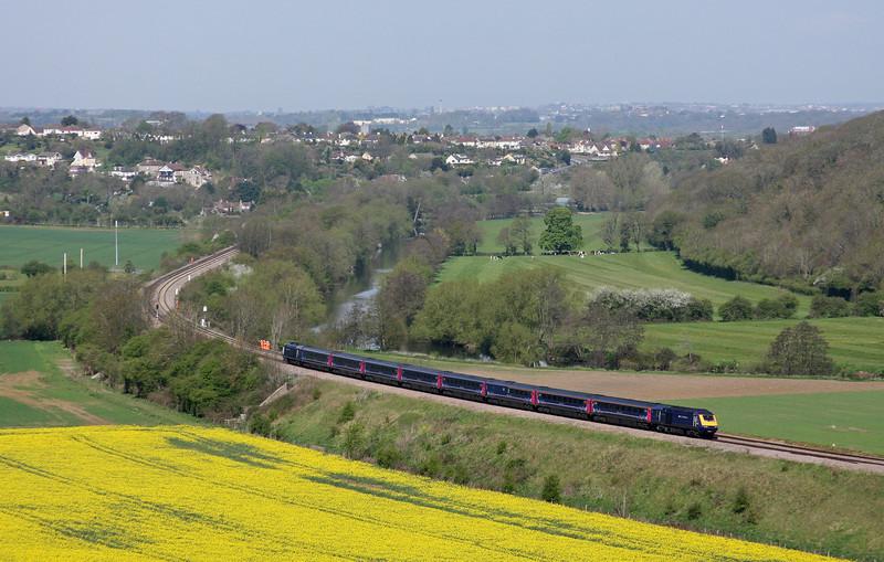 HST, 09.00 London Paddington-Bristol Temple Meads, Newton St Loe, near Bath, 27-4-10.