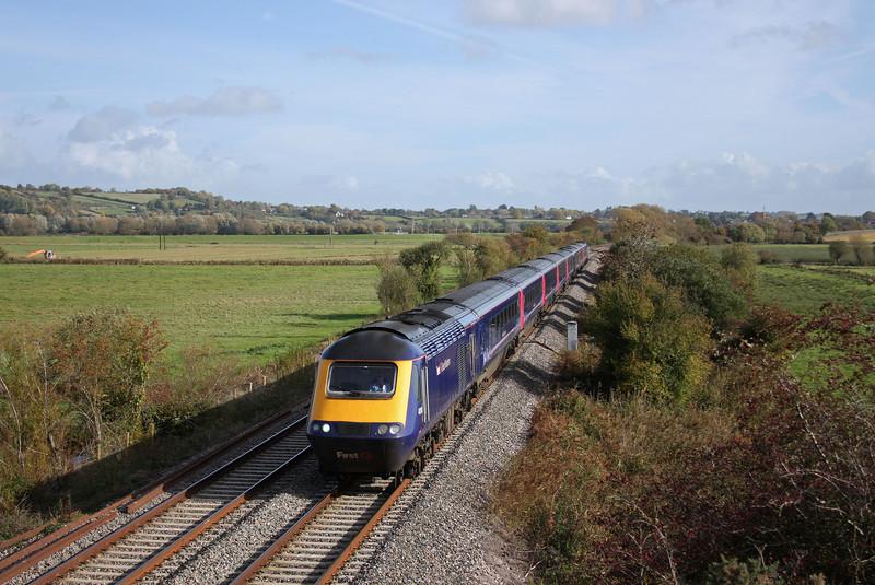 HST, 11.06 Paddington-London Plymouth (late), Wick, near Langport, 27-10-10.