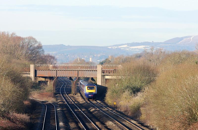 HST, 09.55 Cardiff Central-London Paddington, Llandevenny, near Llanwern, 15-1-13.