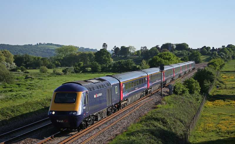 43135/43, 16.57 Plymouth-Paddington, late, Rewe, near Exeter, 24-5-10.