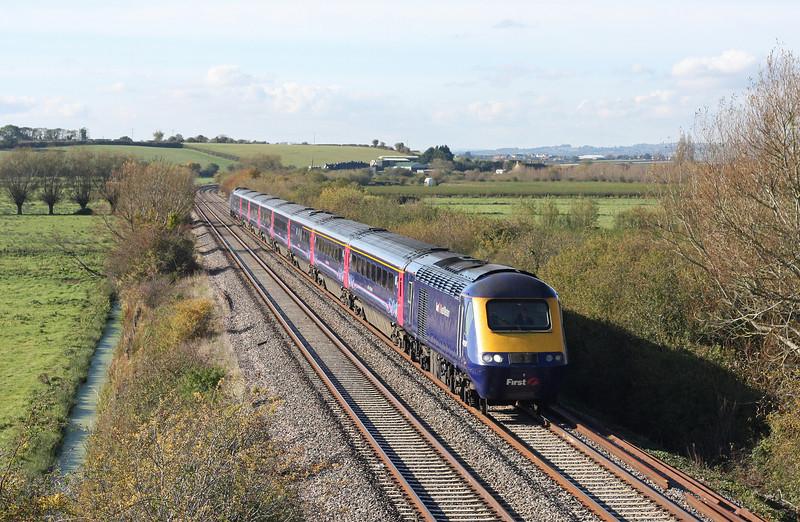 HST, 10.00 Penzance-Paddington, Wick, near Langport, 28-10-11 (late).