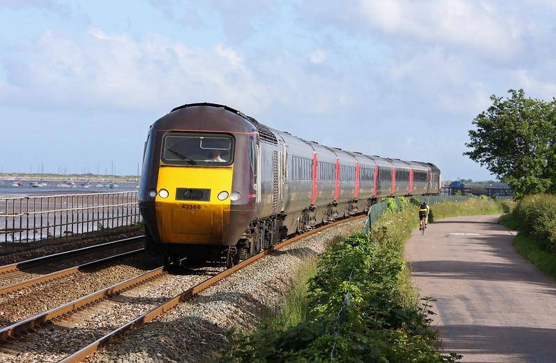 43366/43, 17.23 Plymouth-Leeds, Powderham, near Starcross, 28-6-12.