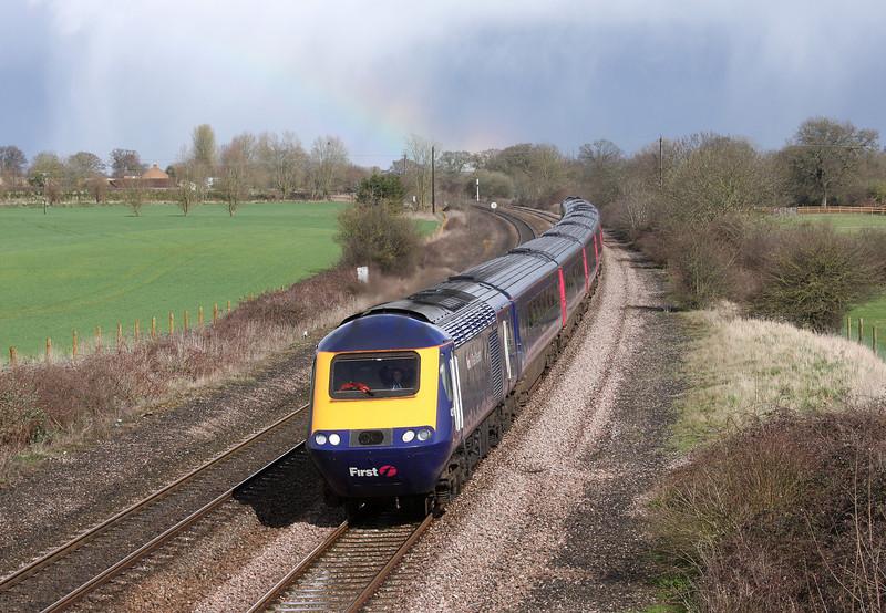 HST, 14.06 London Paddington-Penzance, Creech St Michael, near Taunton, 30-3-10.