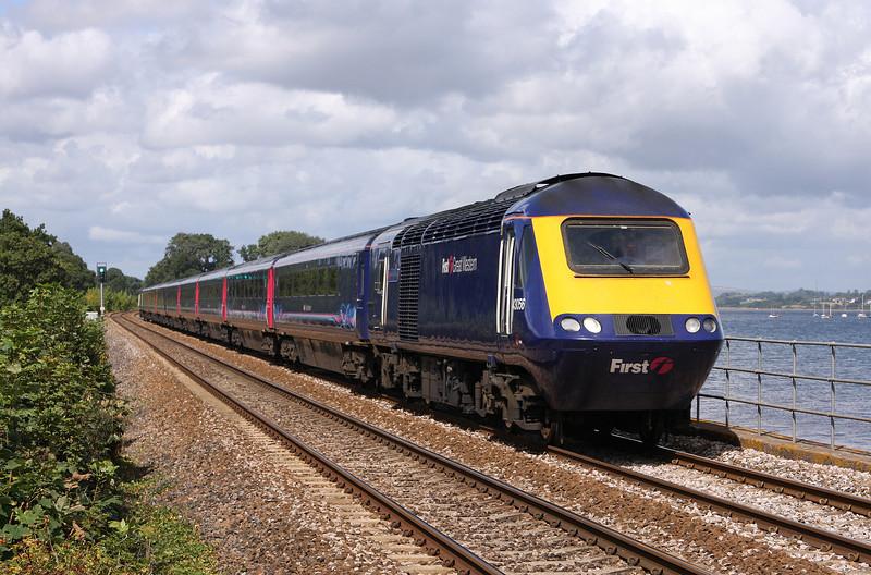 43056/43015, 11.06 Paddington-Plymouth, Powderham, near Starcross, 25-8-11.