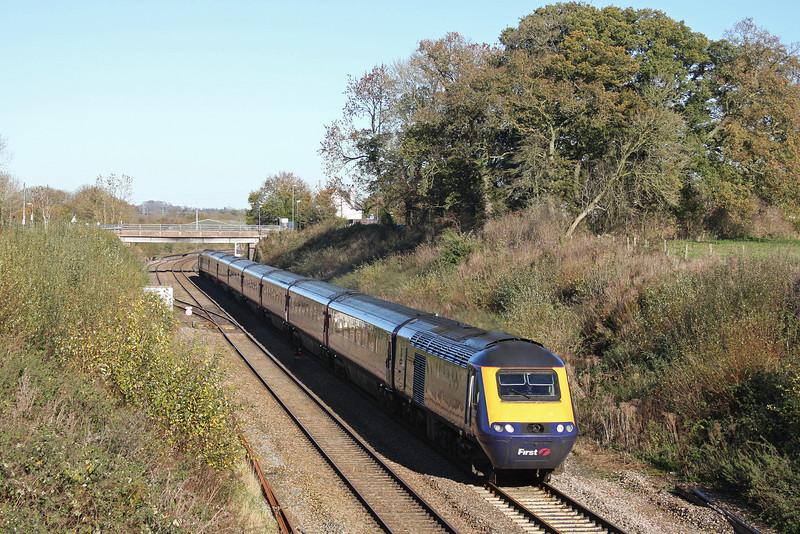 HST, 10.00 London Paddington-Paignton, Willand, near Tiverton, 15-11-10.