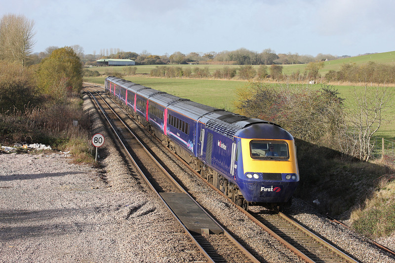 43181/43190, 06.45 Penzance-Paddington, Crofton, near Great Bedwyn, 25-11-11.