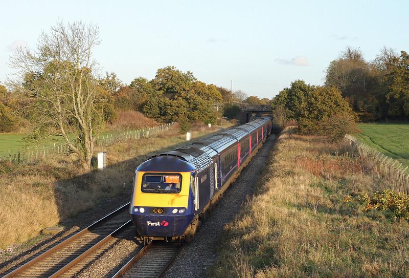 HST, 14.15 Paddington-Cardiff Central, Acton Turville, near Badminton, 1-11-11.