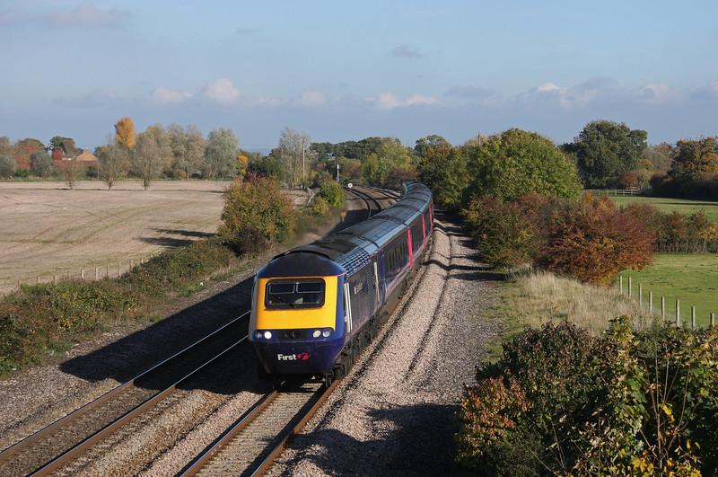 HST, 12.06 London Paddington-Penzance, Creech St Michael, near Taunton, 1-11-10.